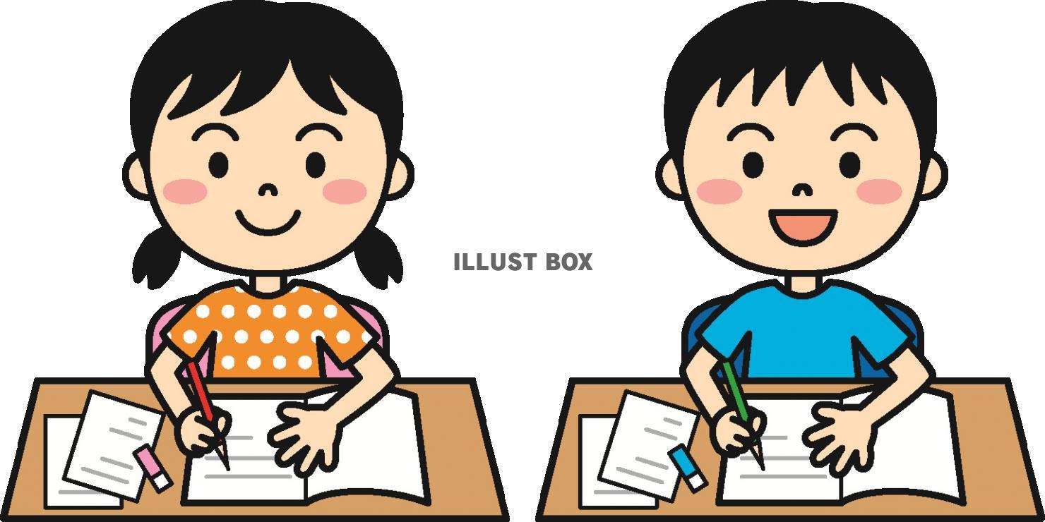 無料イラスト 夏の子供学習カラー