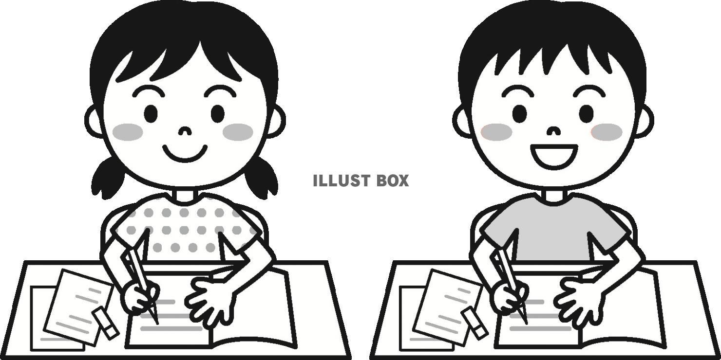 無料イラスト 夏の子供学習モノクロ