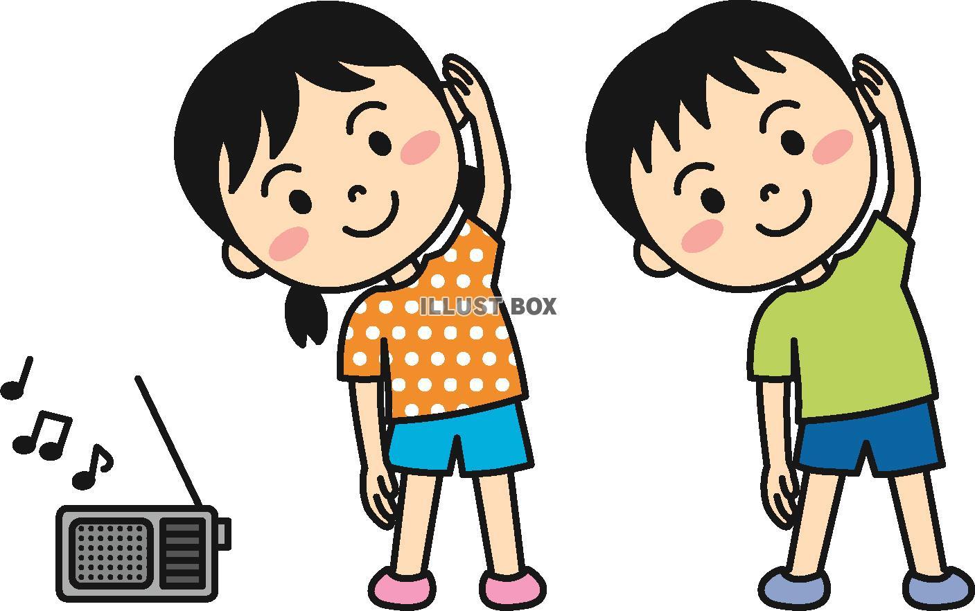 無料イラスト 夏の子供(ラジオ体操)カラー