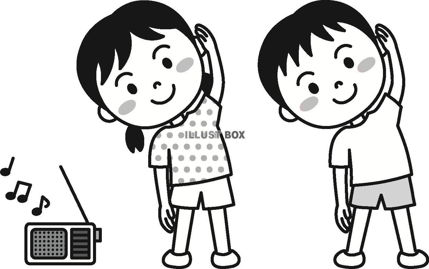 無料イラスト 夏の子供ラジオ体操モノクロ