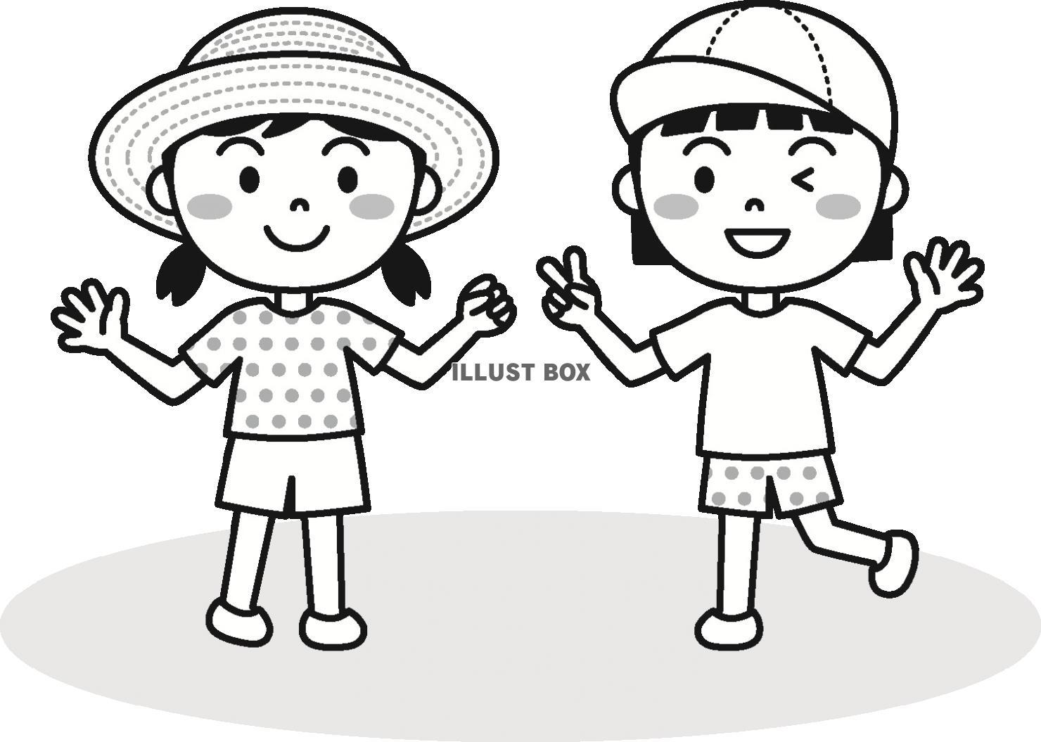 無料イラスト 夏の子供女の子モノクロ