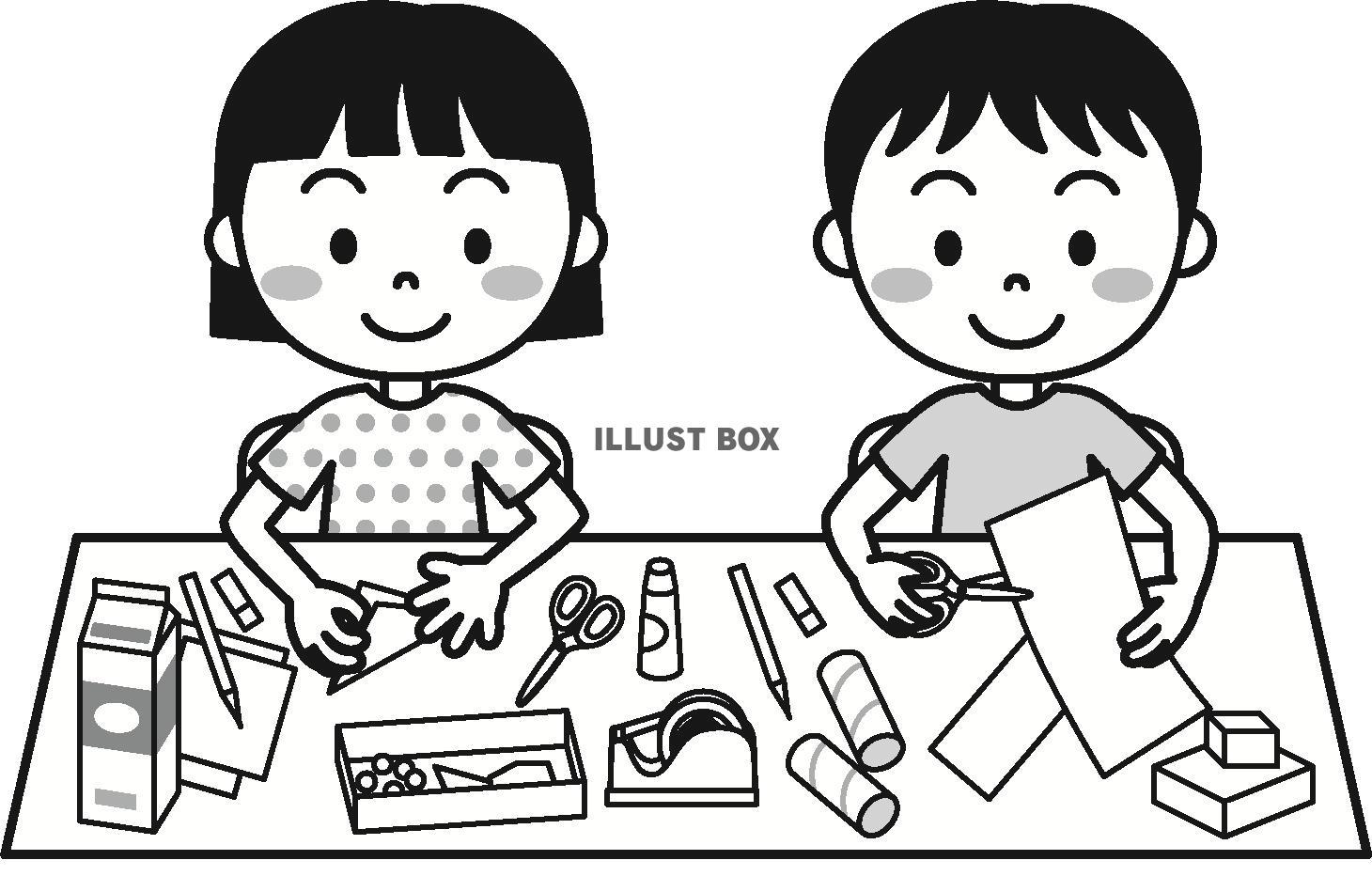 無料イラスト 夏の子供(工作)モノクロ