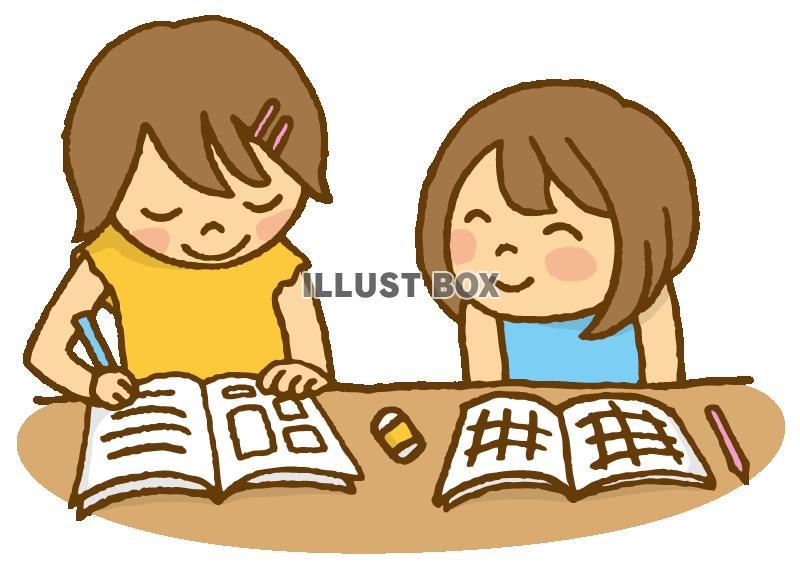 無料イラスト お友達夏休みの宿題塾勉強自習学習相談協力