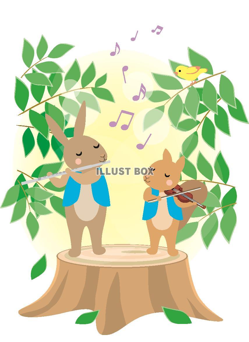 無料イラスト 森の動物の音楽1