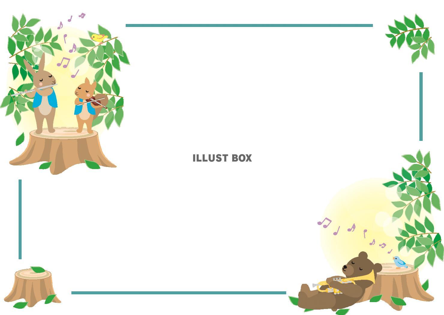 無料イラスト 森の動物の音楽のフレーム(横)