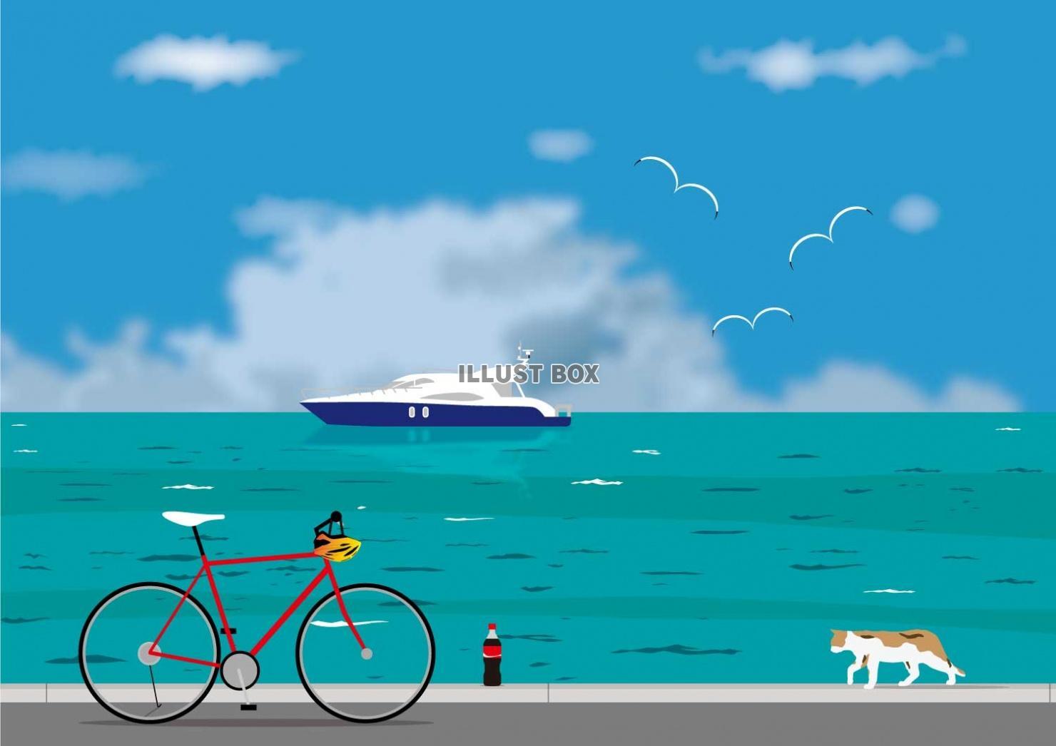 無料イラスト ロードバイクと夏の海