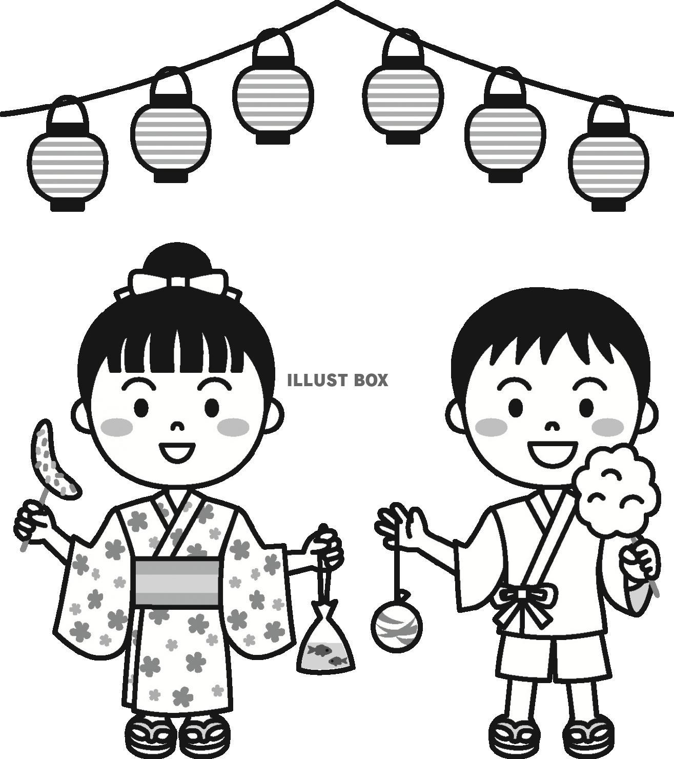 無料イラスト 夏の子供祭りモノクロ