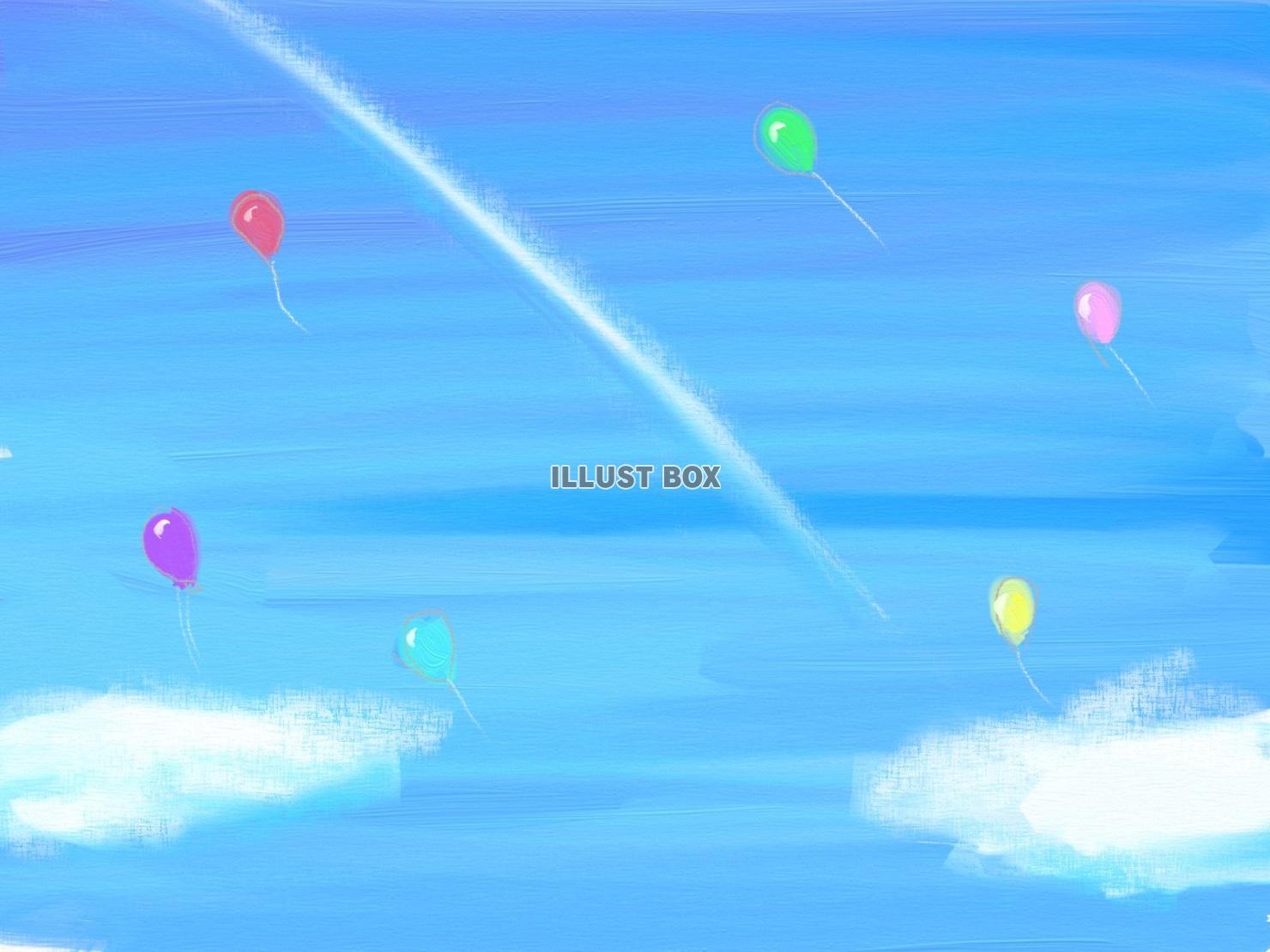無料イラスト 飛行機雲と風船