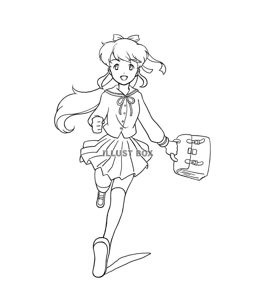 無料イラスト ぬりえ 走る学生服の女の子
