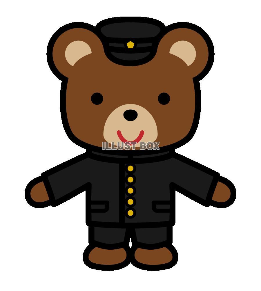 無料イラスト 学生服を着ているクマ 透過png