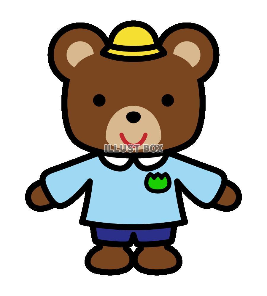 無料イラスト 園児服を着ているクマ1 (透過png)