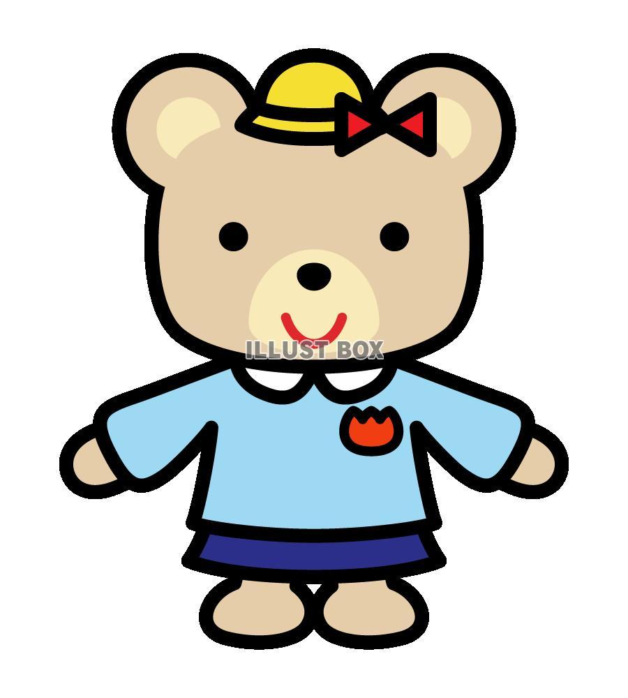 無料イラスト 園児服を着ているクマ2 (透過png)