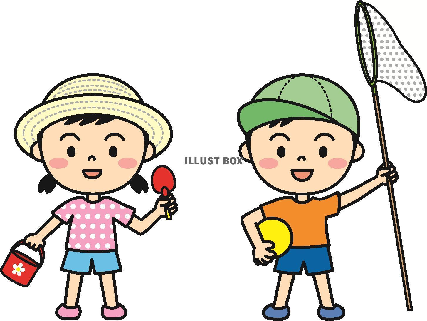 無料イラスト 夏の子供(公園遊び)