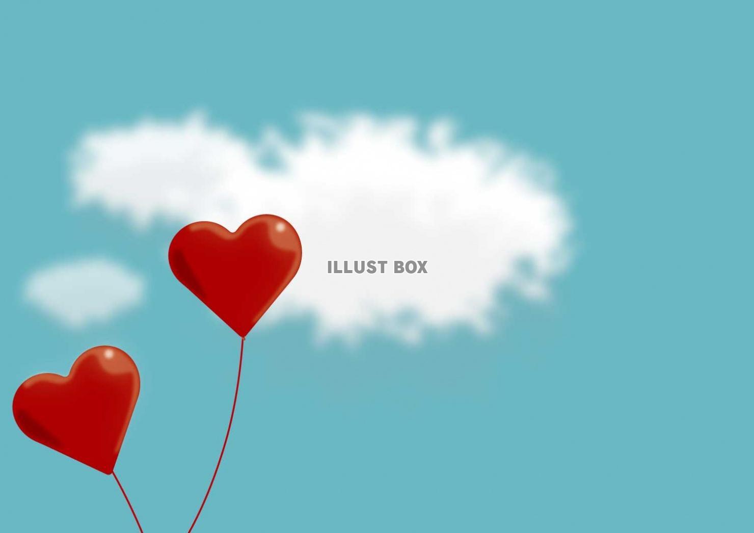 無料イラスト 赤いハートの風船と空の背景