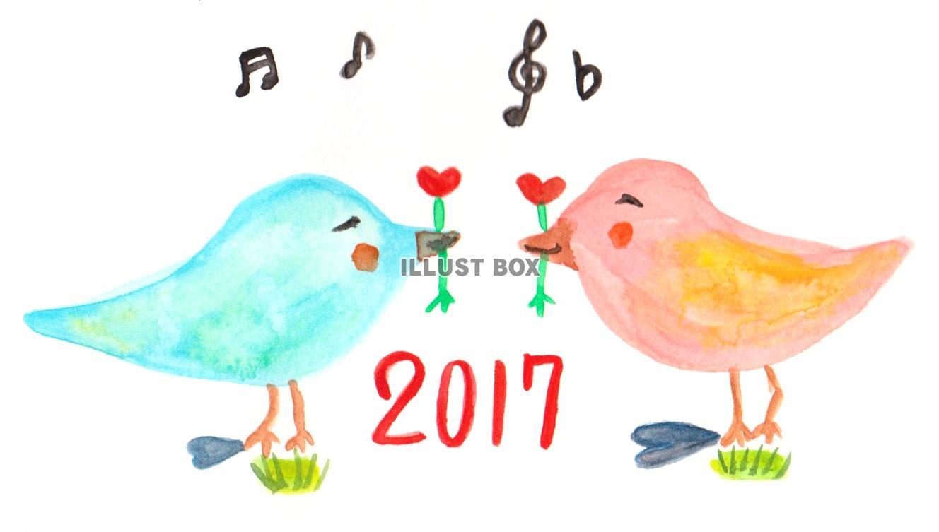 無料イラスト 2017年年賀状可愛いカップル鳥