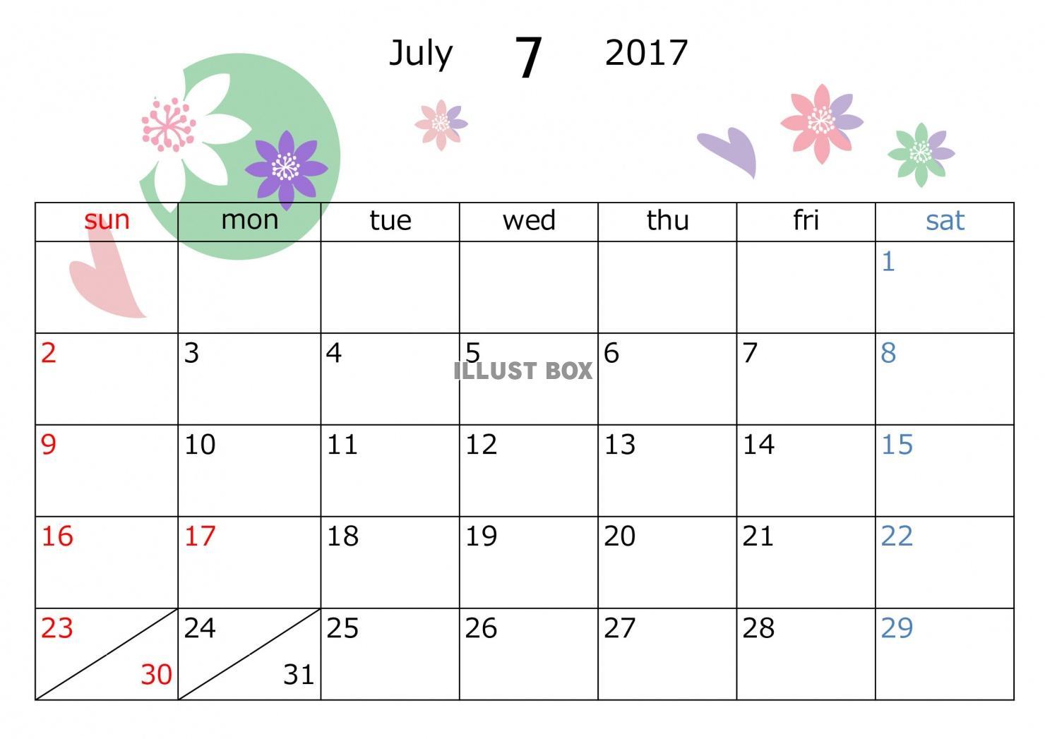 2017年7月カレンダー 花模様