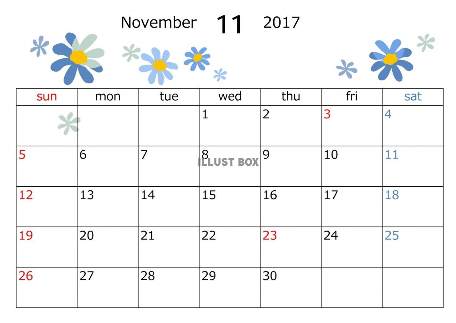無料イラスト 2017年11月カレンダー 花模様