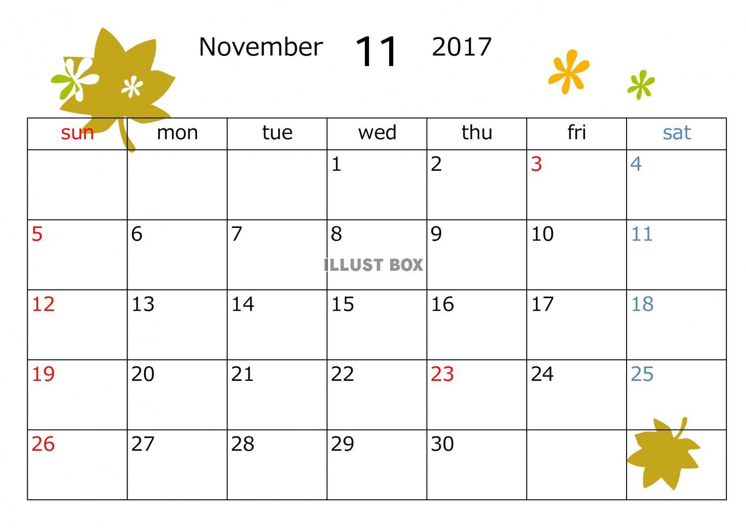 無料イラスト 2017年11月カレンダー 葉っぱ模様