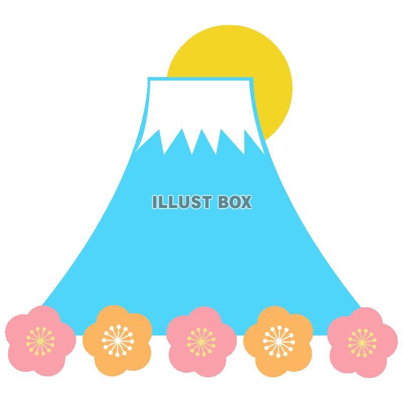 無料イラスト 年賀状のイラスト富士山と梅