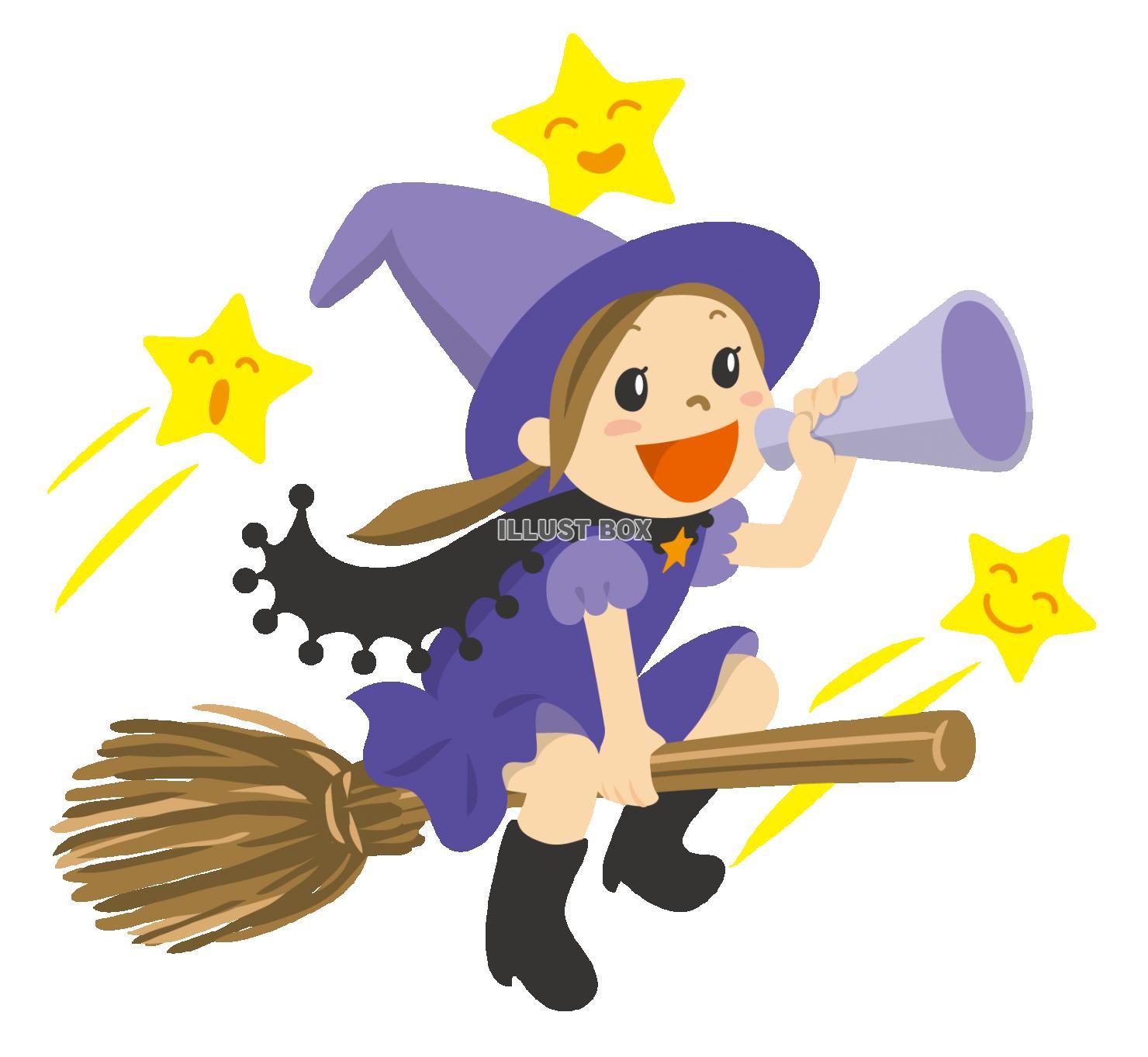 無料イラスト ハロウィンほうきに乗った魔女空飛ぶ女の子からのお知らせ