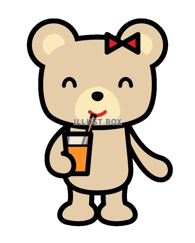 ジュースを飲んでいるクマ2 (透過PNG)