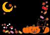 ハロウィン・猫・ランタンフレーム枠素材透過PNG