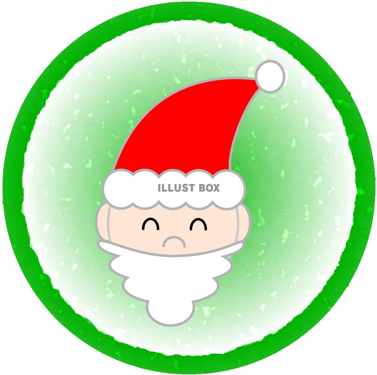 無料イラスト サンタクロース顔緑丸枠