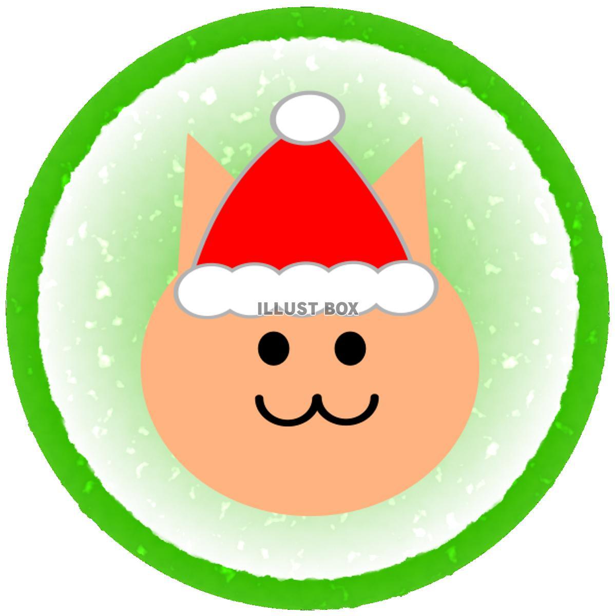 無料イラスト クリスマス 猫 緑丸枠透過png