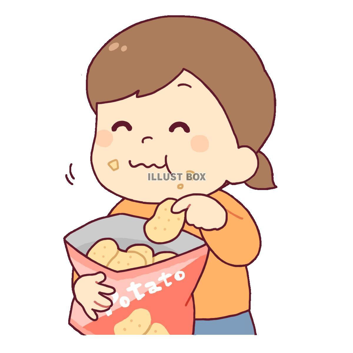 無料イラスト お菓子を食べる女の子