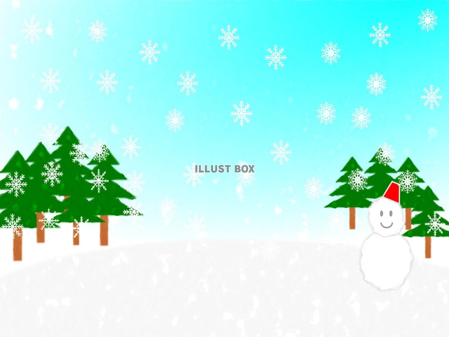 無料イラスト 冬 雪 風景背景素材