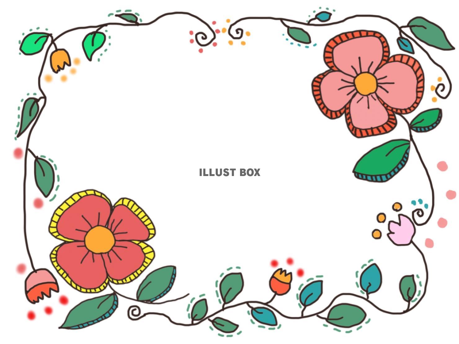 無料イラスト レトロカラーなお花のフレームイラスト