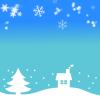 雪と冬景色のフレーム 透過png