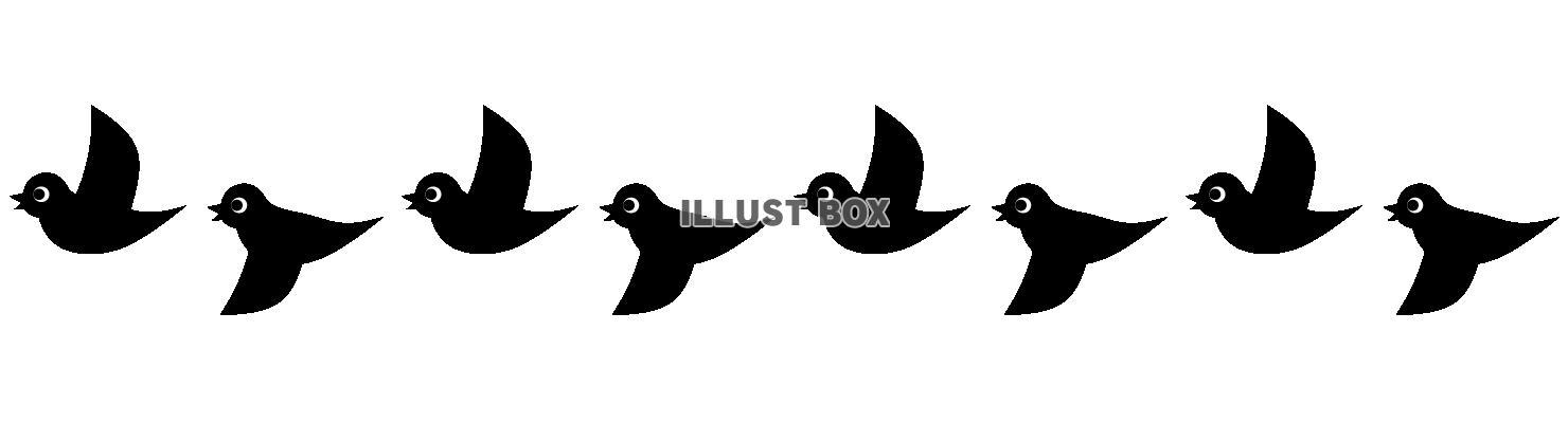 無料イラスト 羽ばたく鳥ののライン 黒 透過png