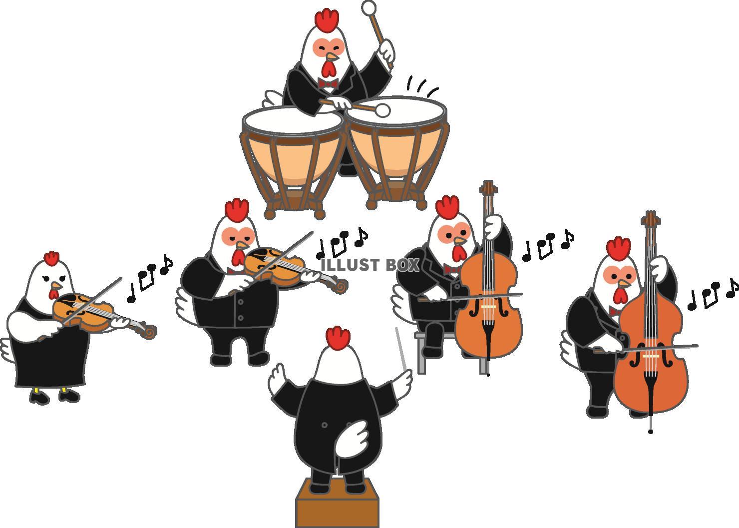 無料イラスト にわとりオーケストラ