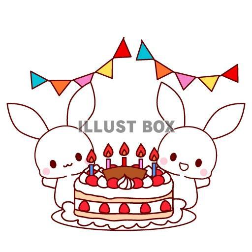 無料イラスト うさぎと誕生日ケーキのイラスト