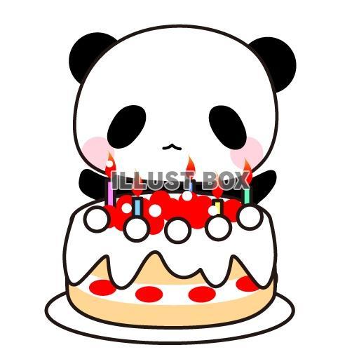 無料イラスト 誕生日ケーキとパンダのイラスト