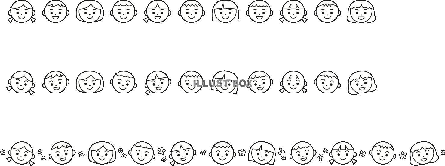 無料イラスト 子供の顔のライン色々モノクロ