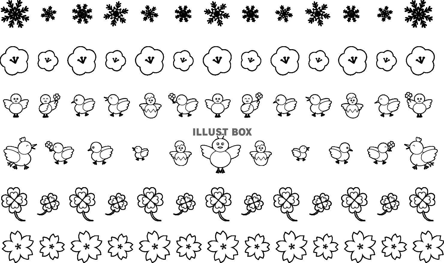 無料イラスト かわいいラインセット(冬~春)モノクロ