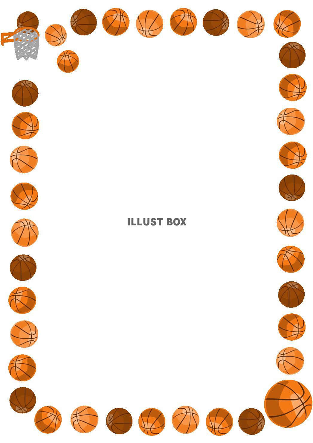 無料イラスト バスケットボールのフレーム縦