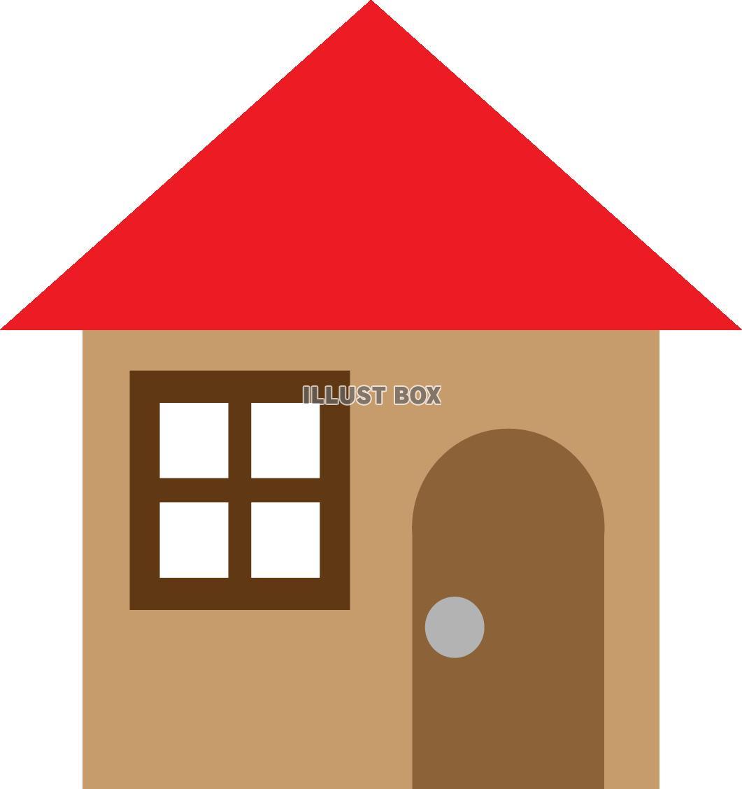 無料イラスト 赤い屋根のおうち透過pngeps