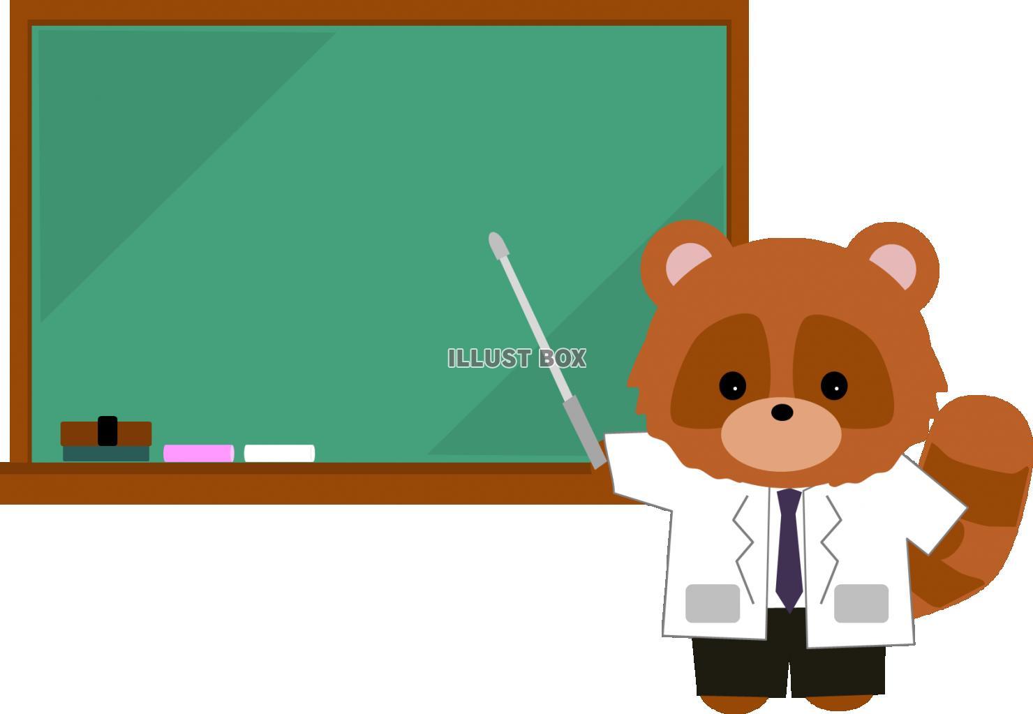無料イラスト たぬき先生と黒板