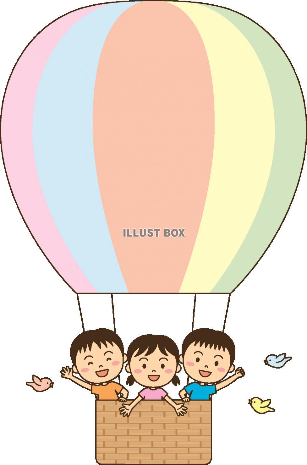 無料イラスト 大きな気球に乗って(子供)