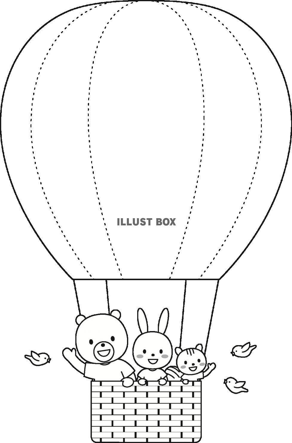 無料イラスト 大きな気球に乗って(動物・モノクロ)