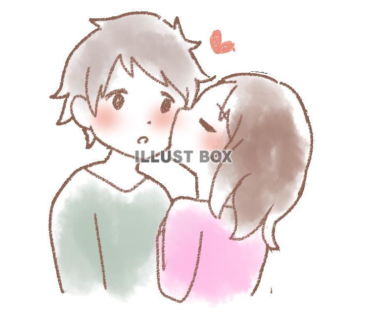 無料イラスト カップル 頬にキス