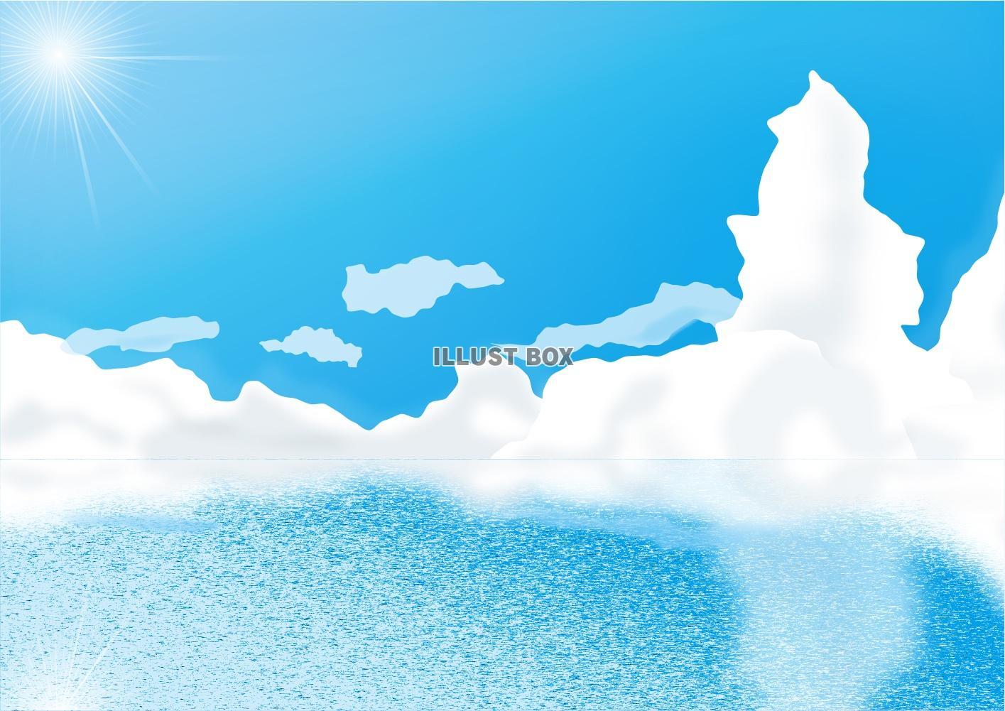 無料イラスト 空と雲と海