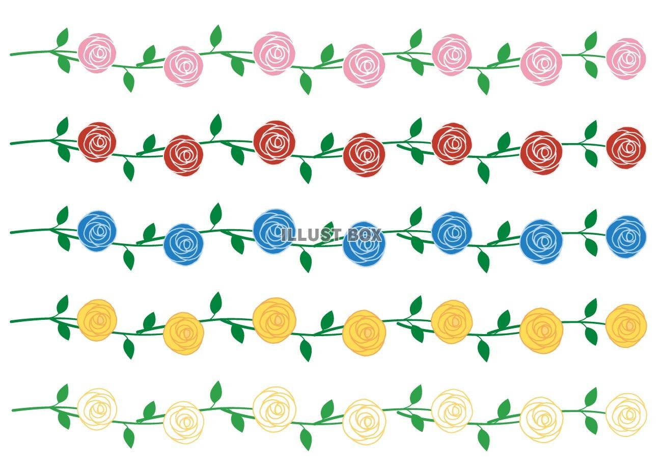 無料イラスト 薔薇のラインセット