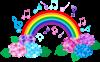 あじさいと音符と虹