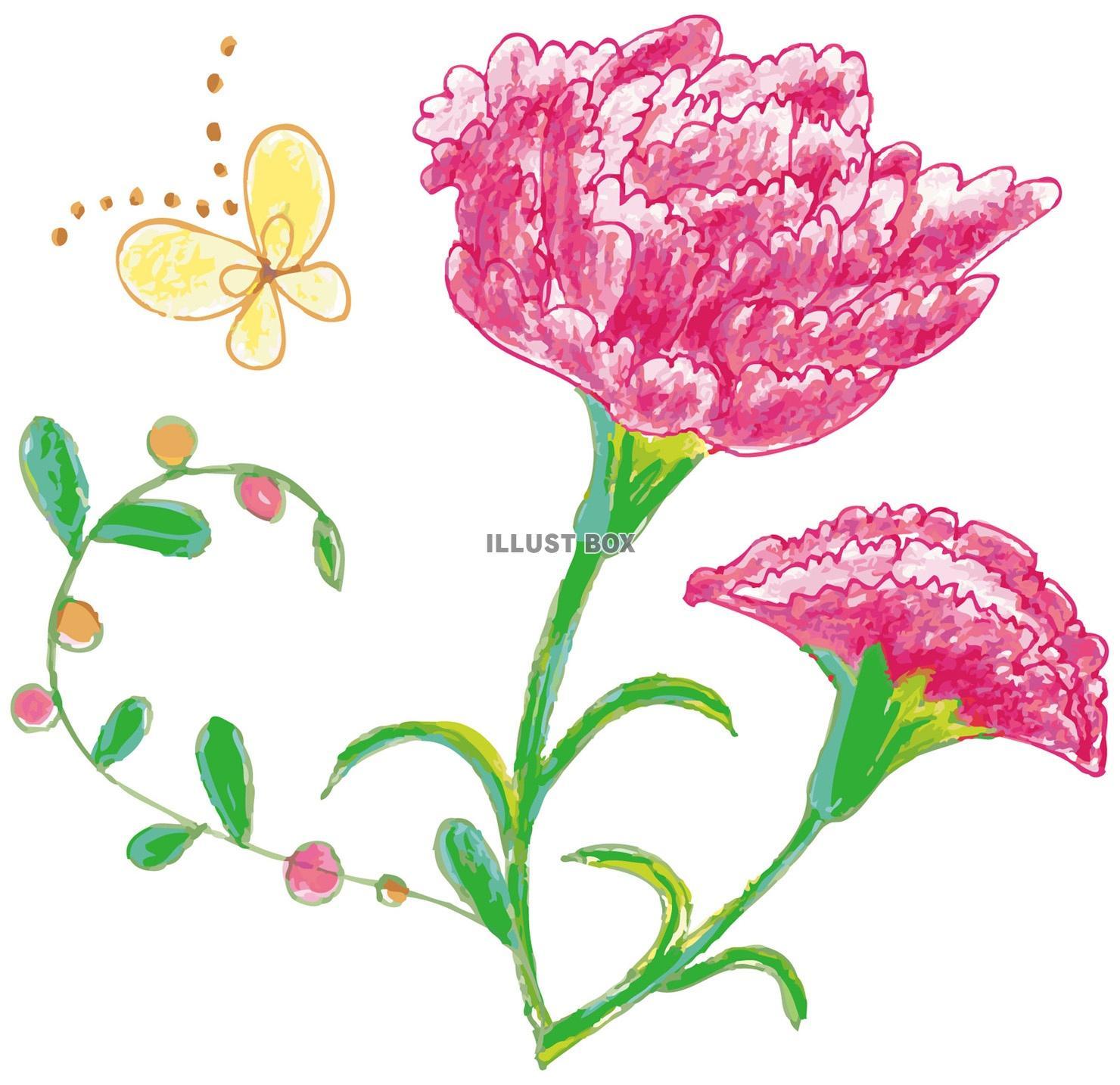 無料イラスト 春季節感花植物手書き手描きてがきカーネーション母の日五月5月