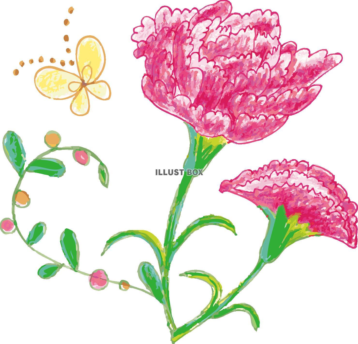 無料イラスト 春季節感花植物手書き手描きてがきカーネーション母の日五