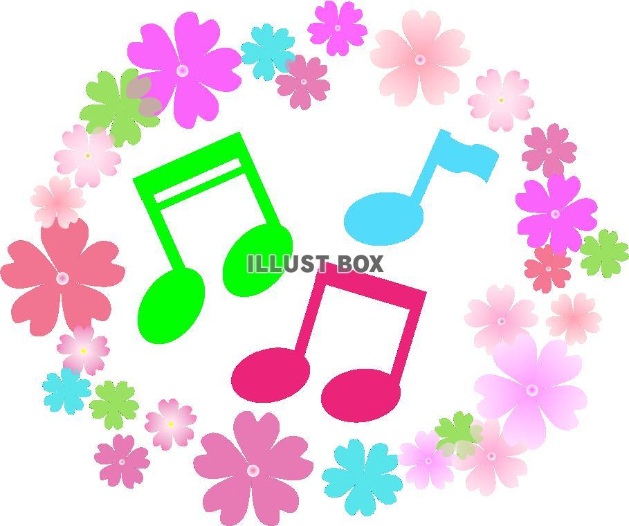 無料イラスト 花と音符
